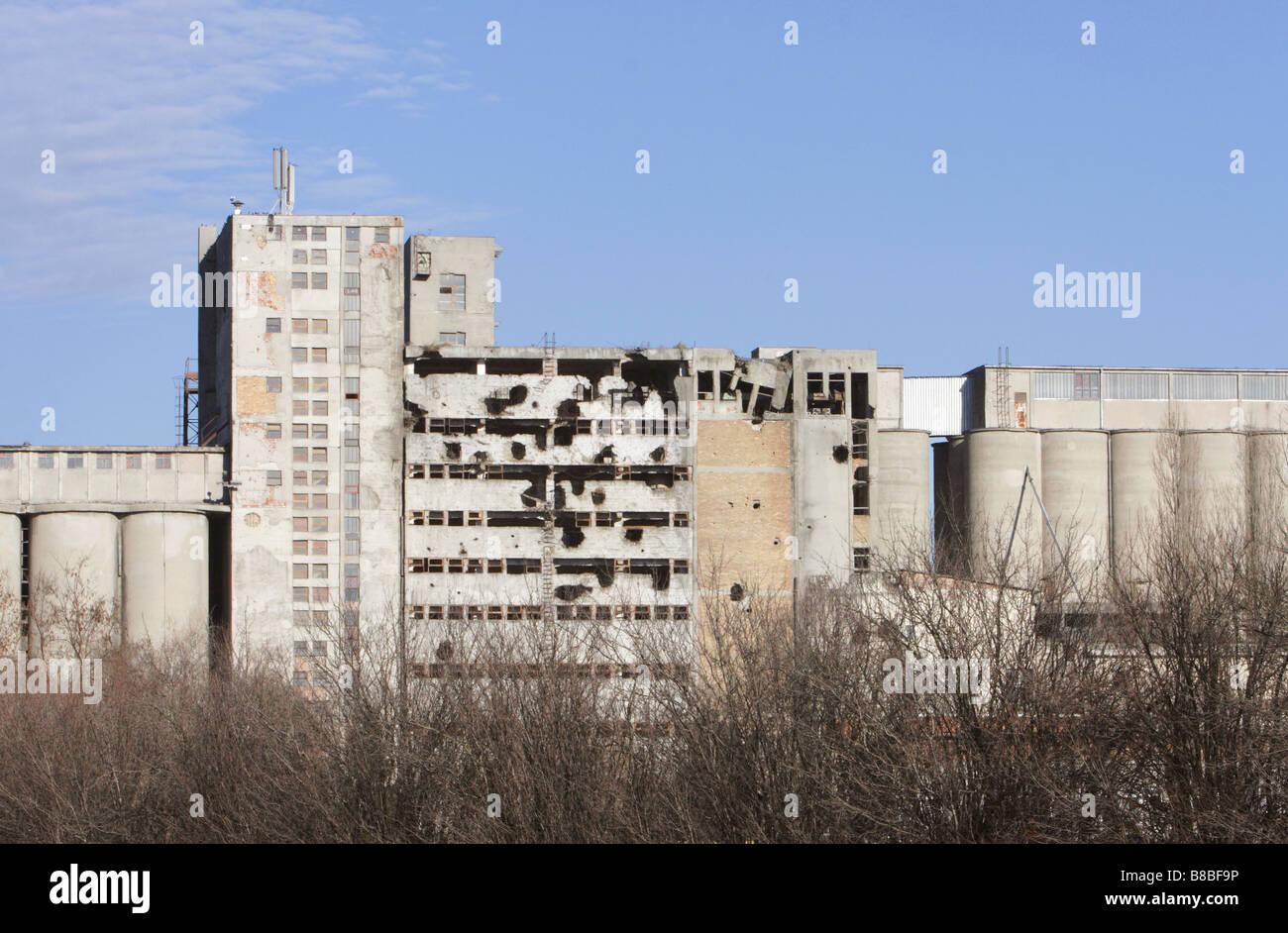 Silos Damaged from War 1990's, Vukovar, Eastern Croatia Stock Photo