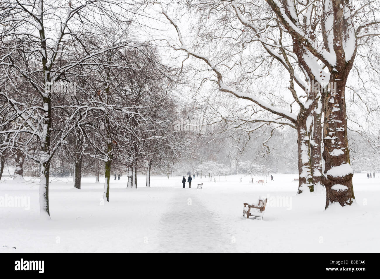 St James's Park covered in snow, London, England, UK - Stock Image