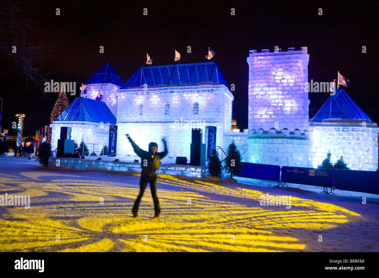 People dancing at ice palace Winter Carnival Old Quebec city - Stock Image