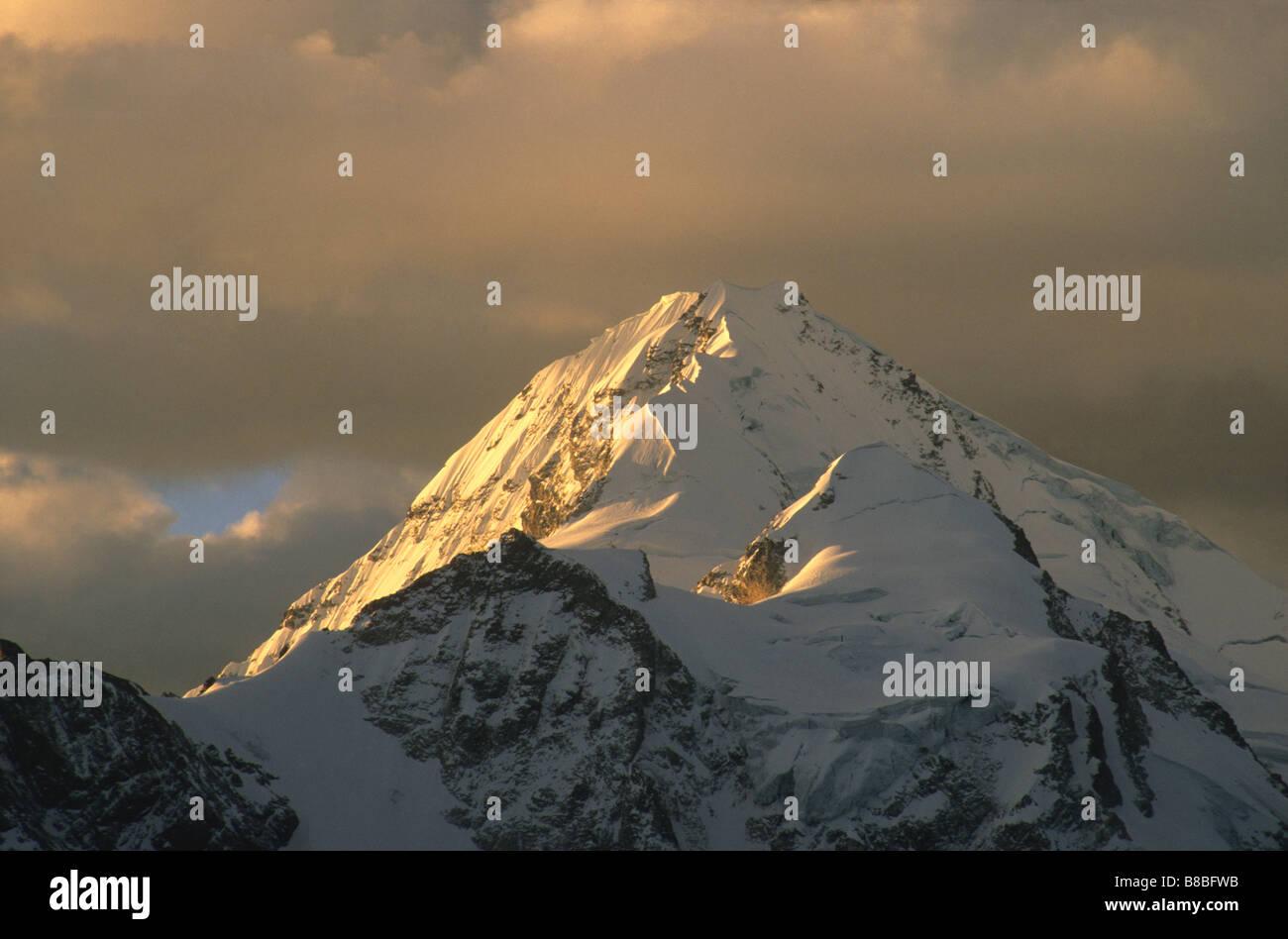 Mt Huayna Potosi at sunset, Cordillera Real, Bolivia Stock Photo