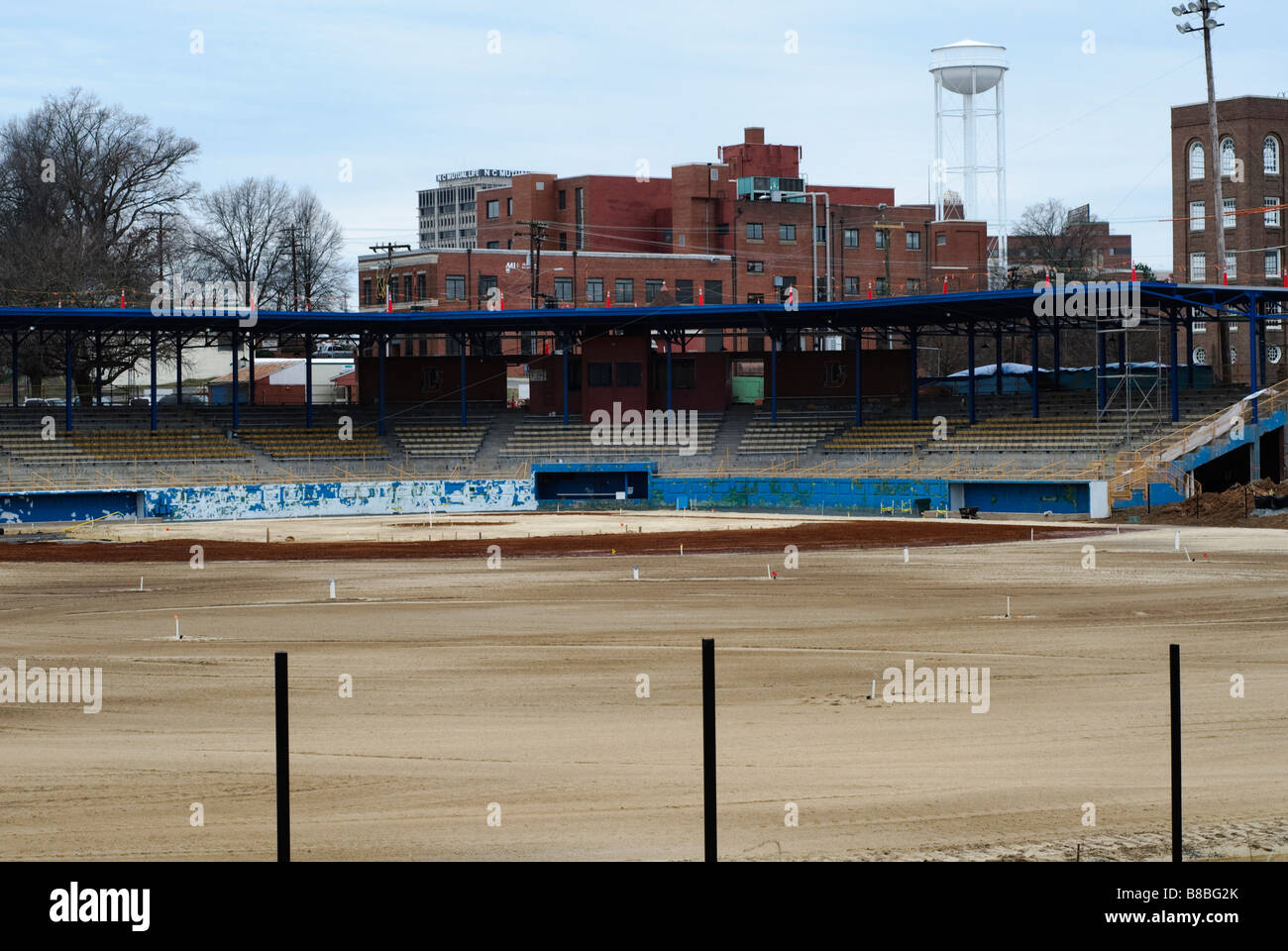Durham Athletic Park, former stadium of the Durham Bulls Baseball team - Stock Image
