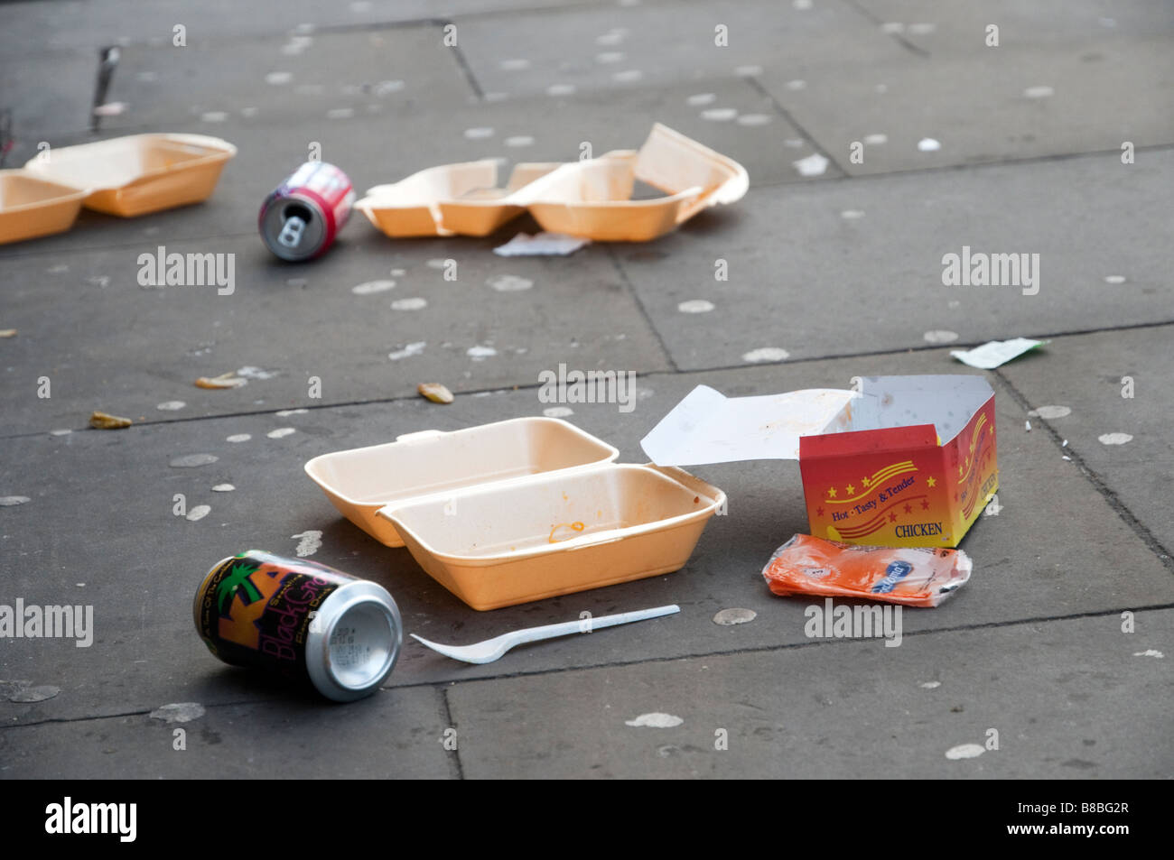 Litter on the pavement in London England UK - Stock Image