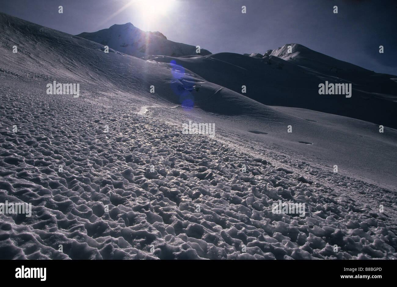 Penitientes on glacier on Mt Huayna Potosi, Cordillera Real, Bolivia - Stock Image