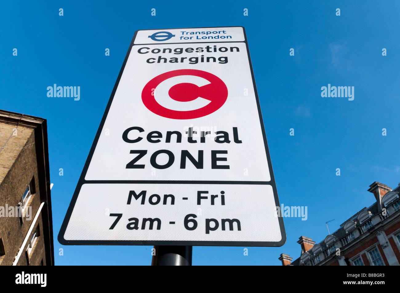 Congestion Charge sign at zone boundary London England UK - Stock Image