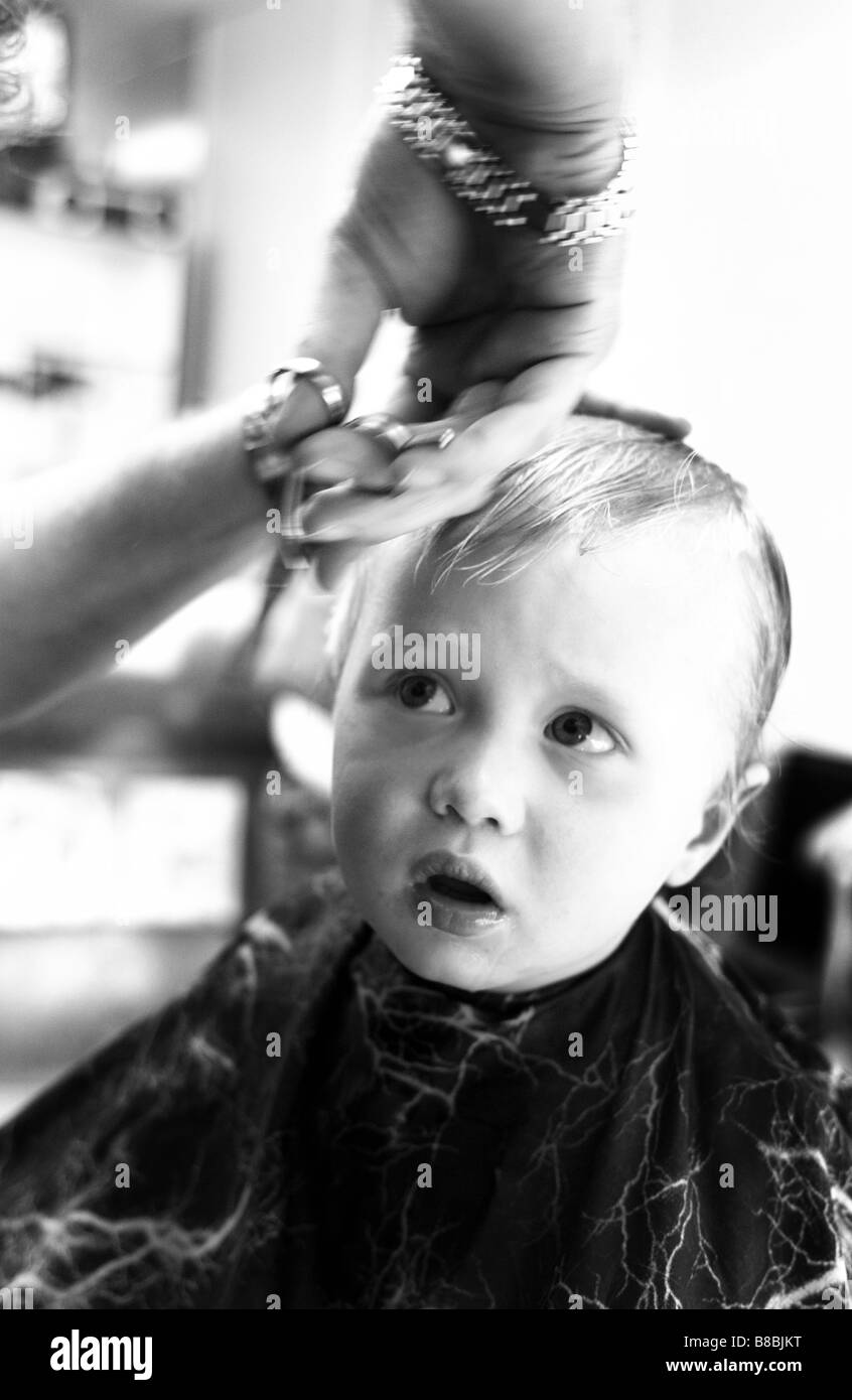 Boy Getting Haircut Bw Stock Photo 22383756 Alamy