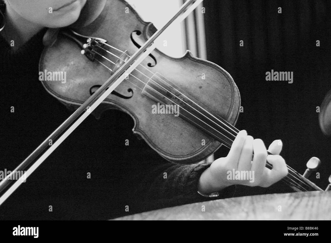 Fiddler Mid-Tune, Halifax, Nova Scotia, B/W - Stock Image