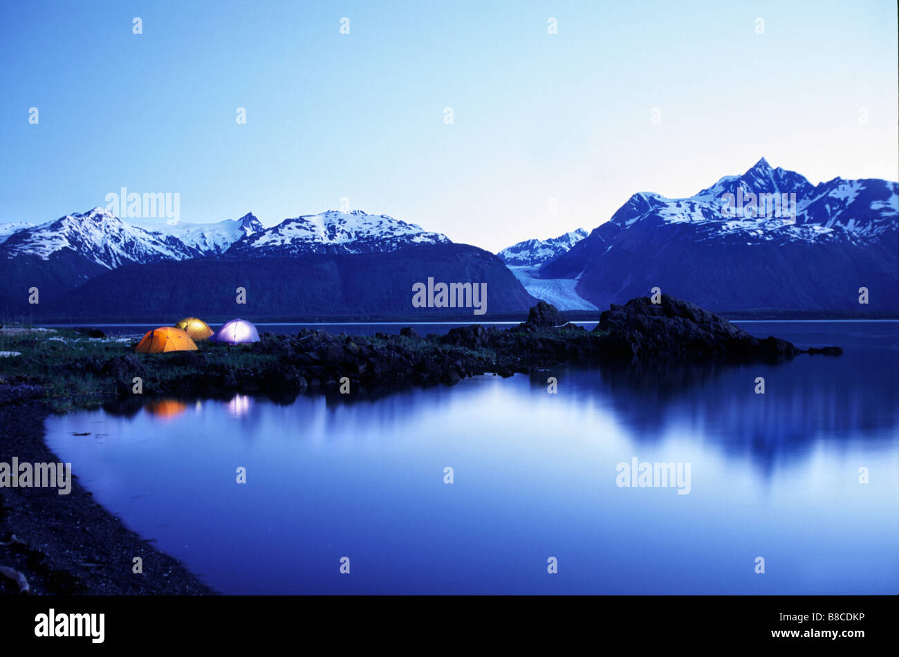 Campsite, Seduction Point, Haines, Alaska - Stock Image