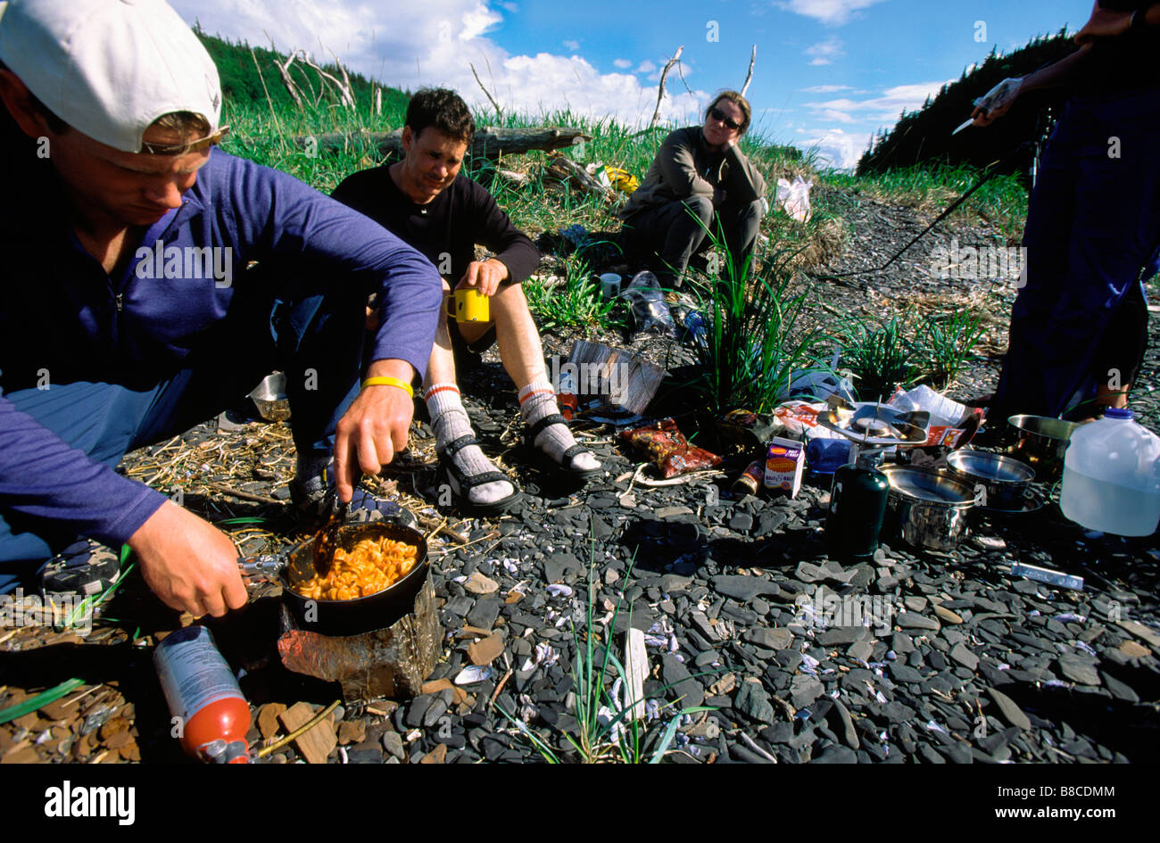 Cooking Dinner, Seduction Point, Haines, Alaska - Stock Image