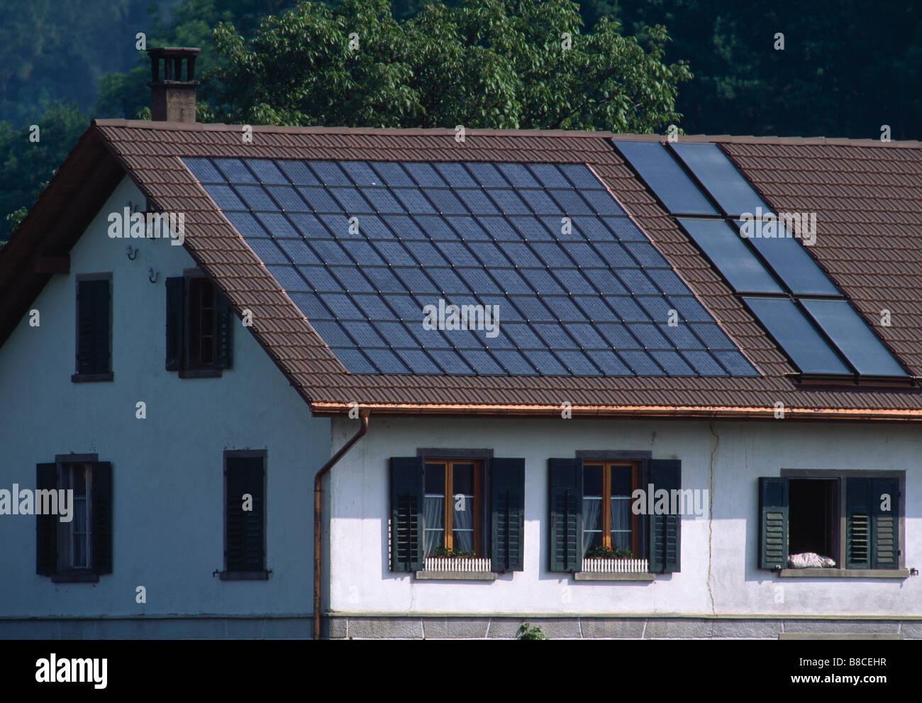 SOLAR TILES & PANELS - Stock Image