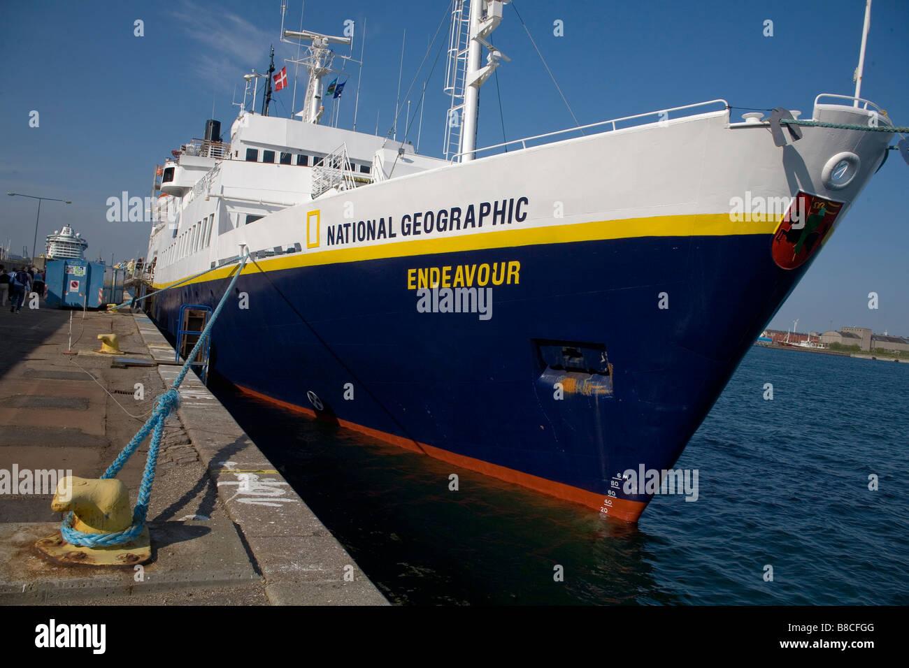 National Geographic Endeavour moored in Copenhagen, Denmark - Stock Image