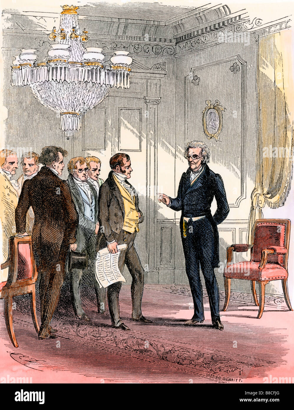 President Andrew Jackson receiving delegates in the White House. Hand-colored woodcut - Stock Image