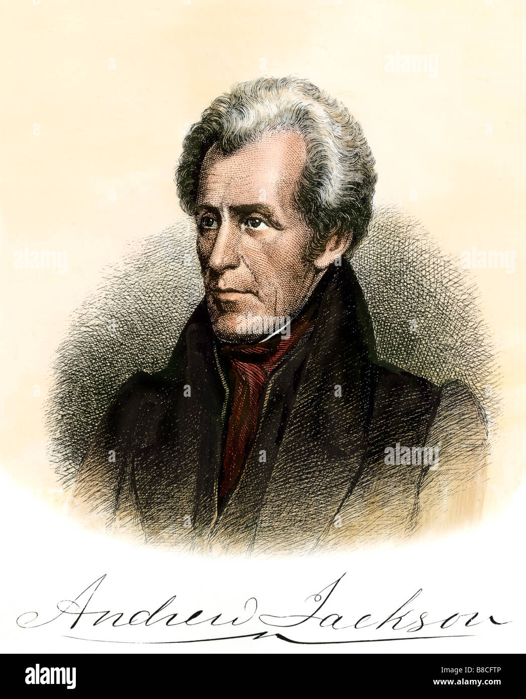 President Andrew Jackson with his autograph. Hand-colored steel engraving - Stock Image