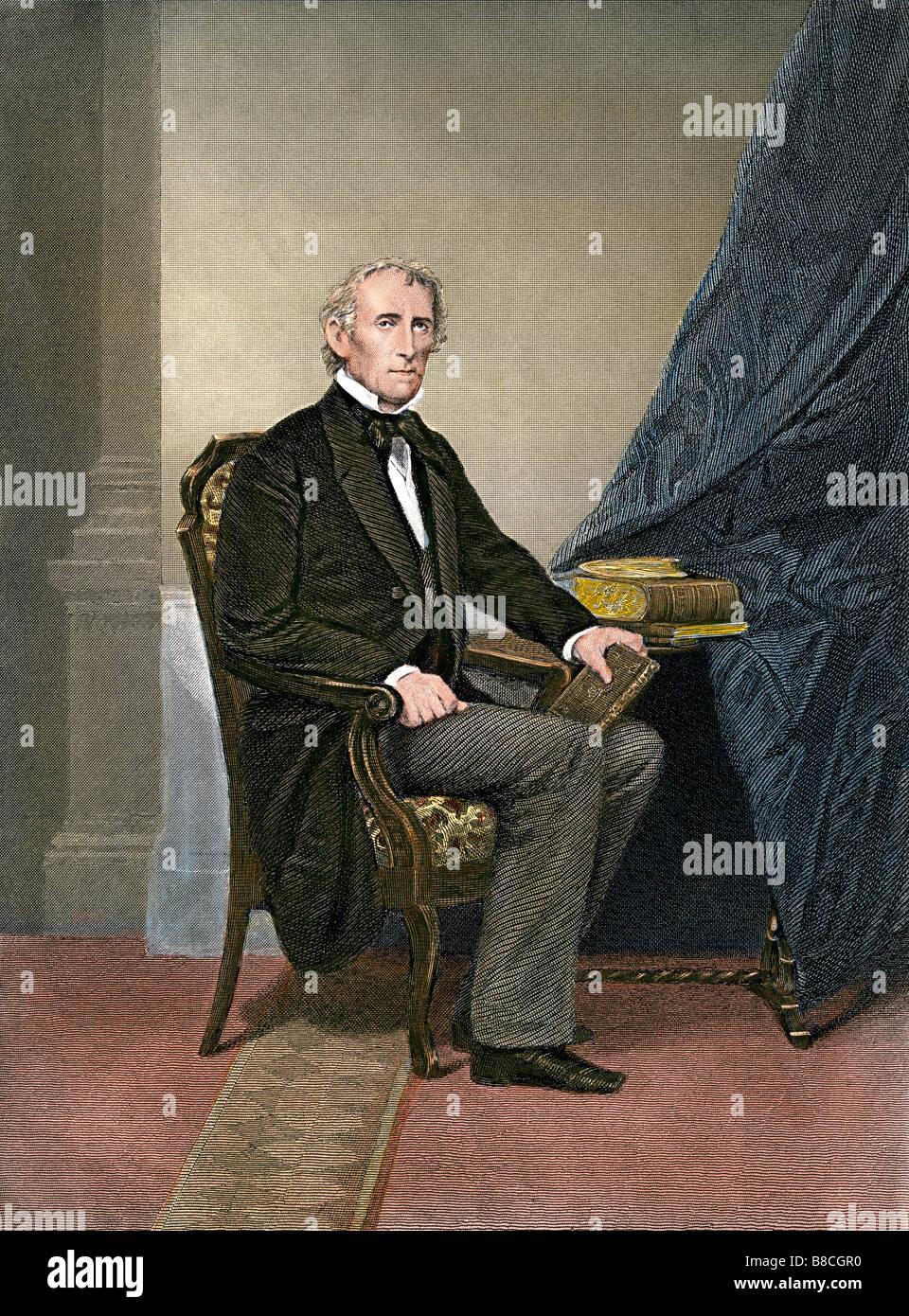 US President John Tyler. Hand-colored steel engraving - Stock Image