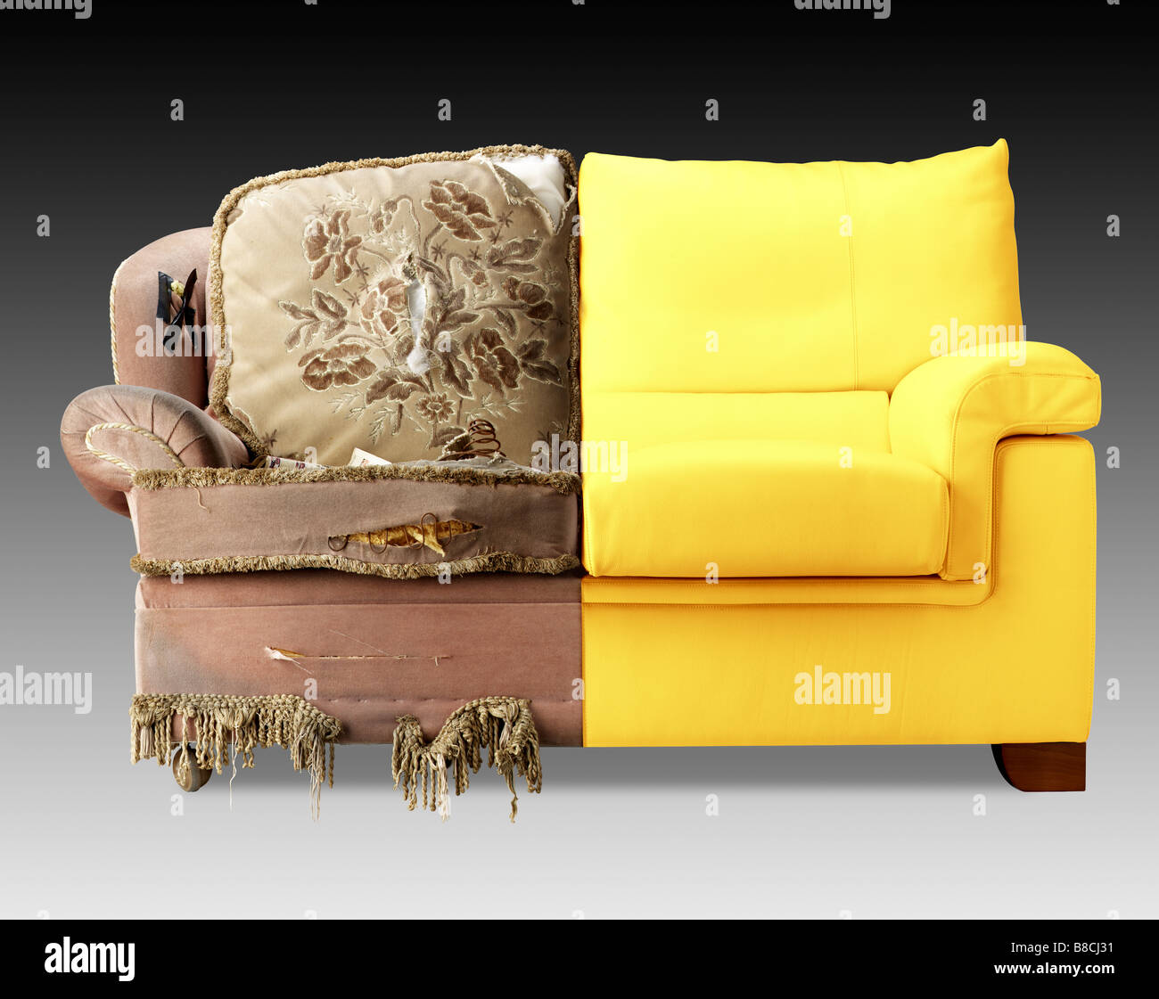 Sofa half new half old - Stock Image