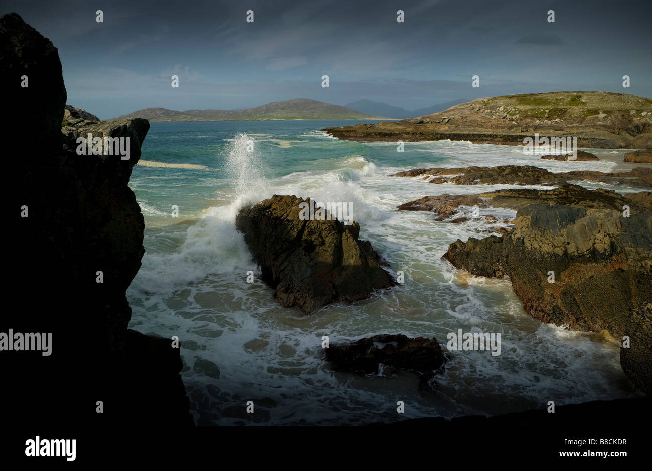 Outer Hebrides Island Harris beach at high tide sand sea and rocks coast shore line in Scotland - Stock Image