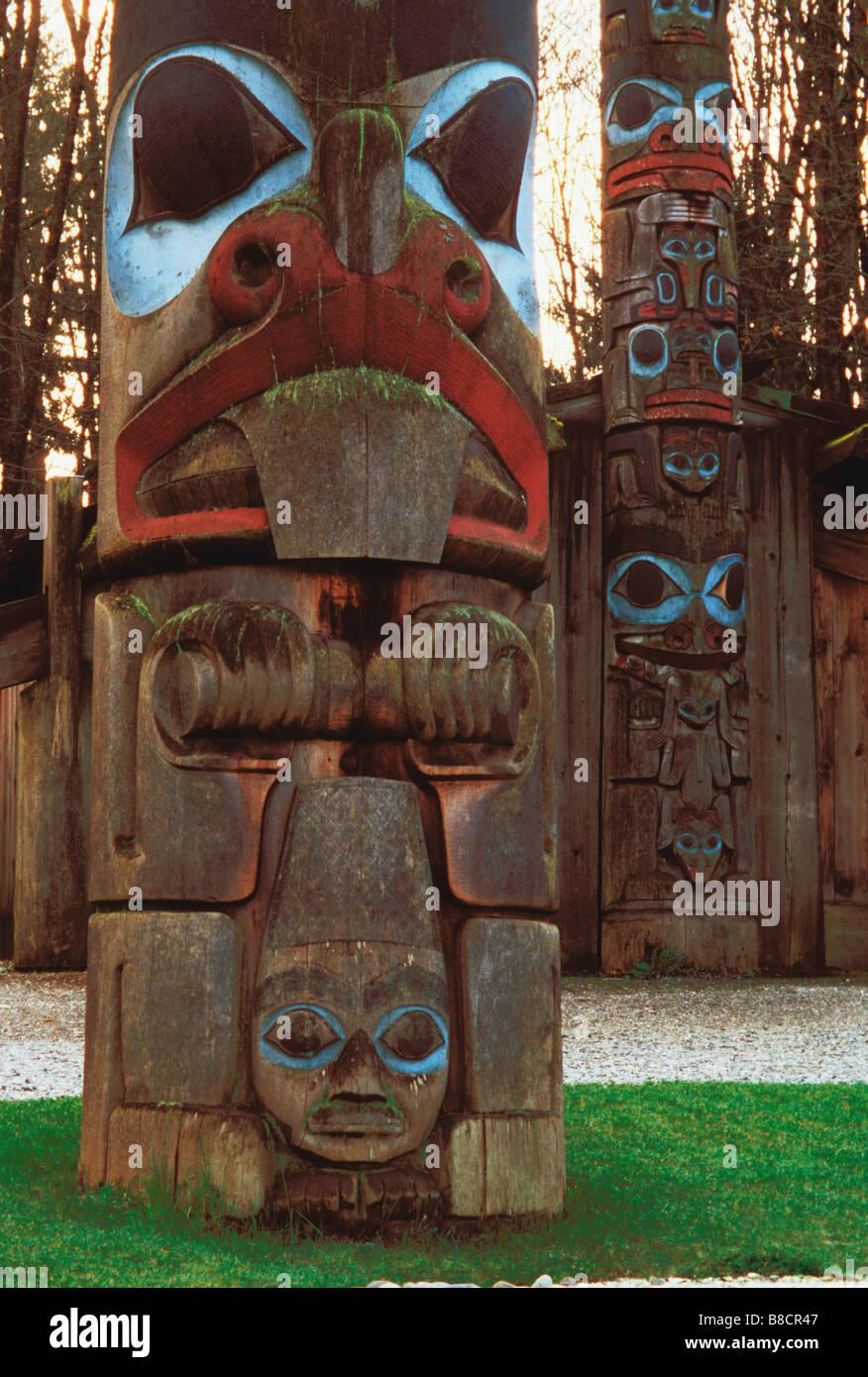 Totem Poles, Anthropological Museum, University  British Columbia, Vancouver - Stock Image