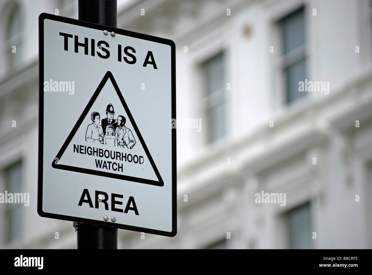 black and white neighbourhood watch sign in a street in kensington, london, england - Stock Image