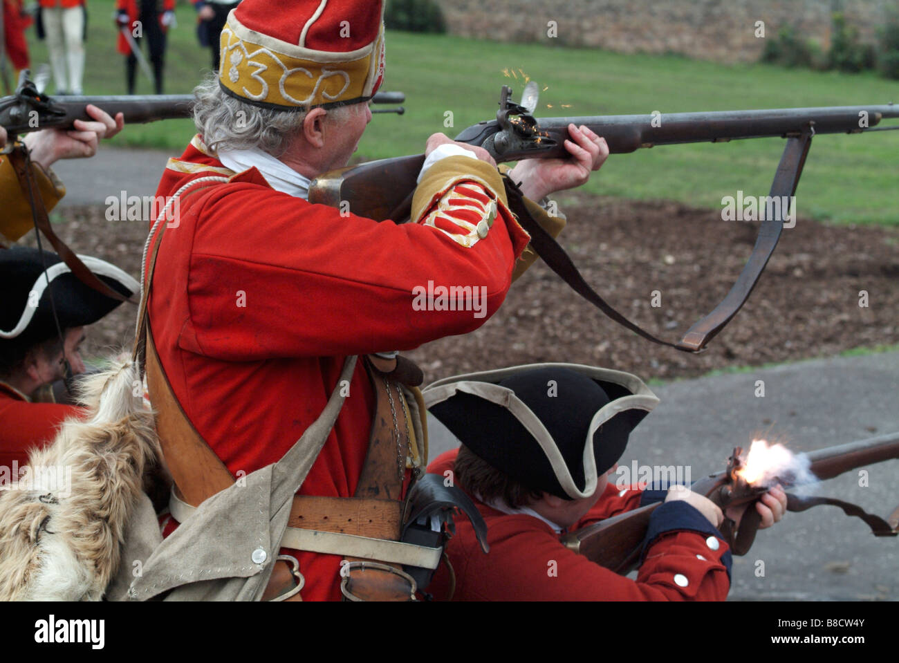A demonstration of musket firing at the 2008 re-enactment of the Battle of Prestonpans, Scotland. Stock Photo