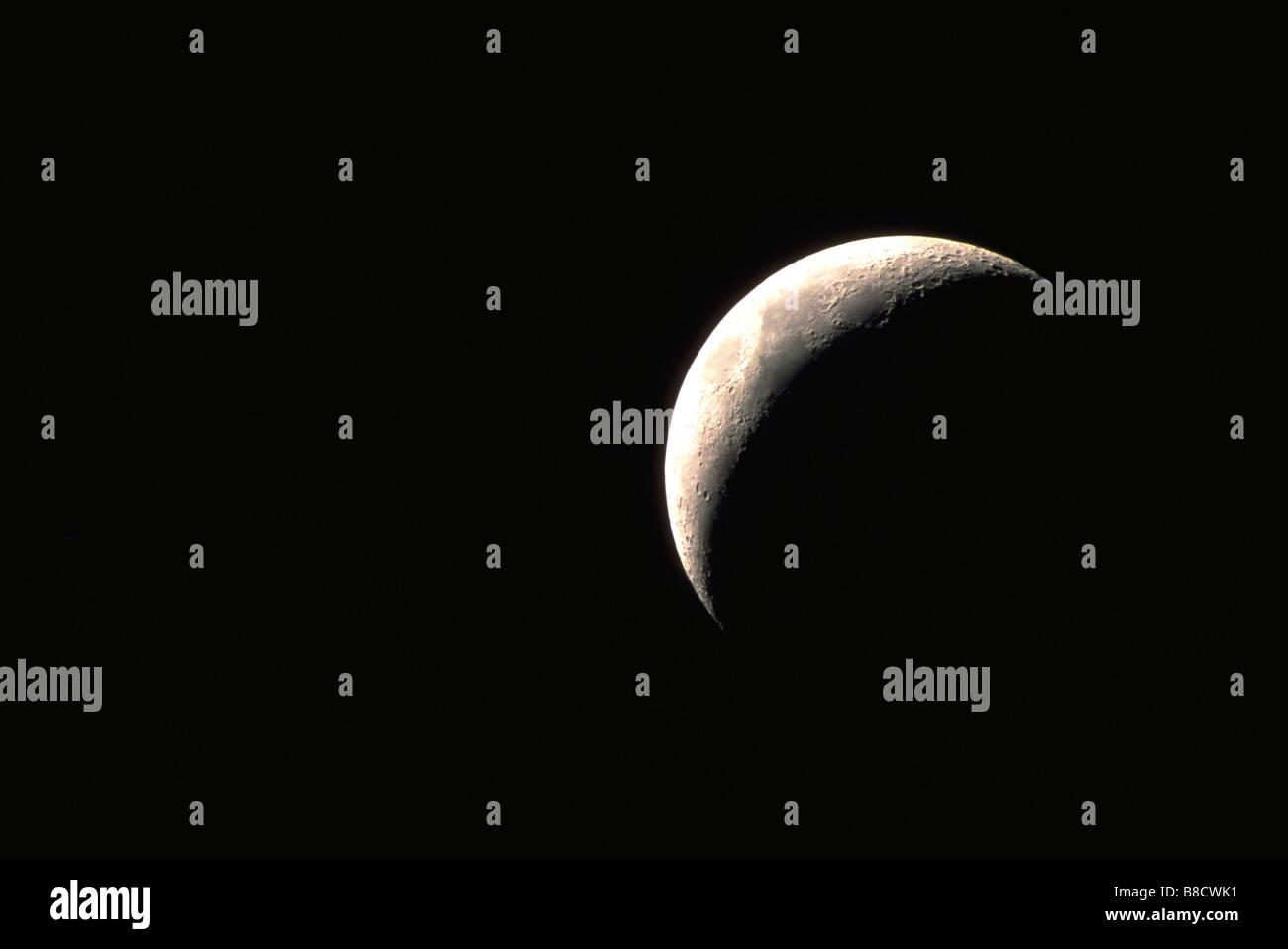 FV1061, Dave Nunuk; Crescent moon, black sky - Stock Image