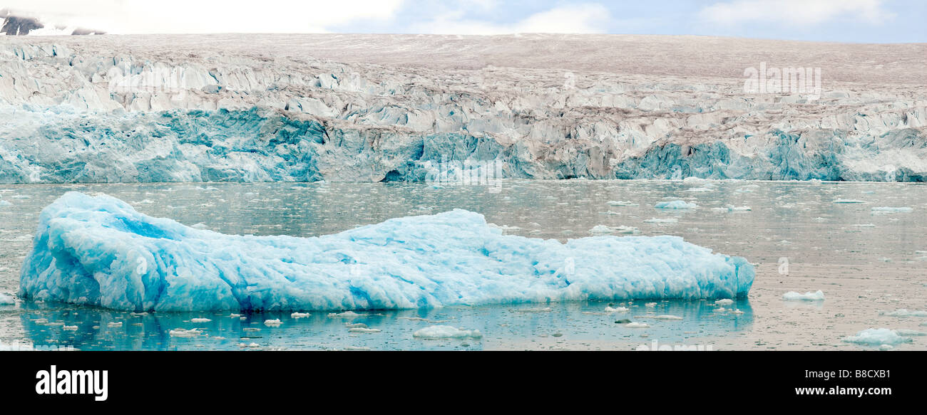 Panoramic inage of the glacier drifting icebergs and a typical arctic landscape at the Lilliehook Fjord - Stock Image