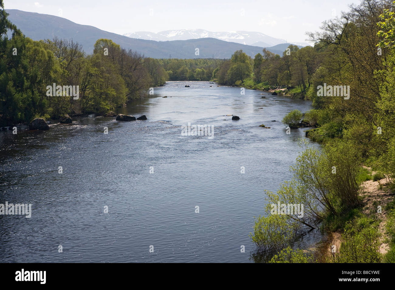 View down River Spey, towards Cairngorms National Park, from the Old Spey Bridge, Grantown-on-Spey, Scottish Highlands, - Stock Image