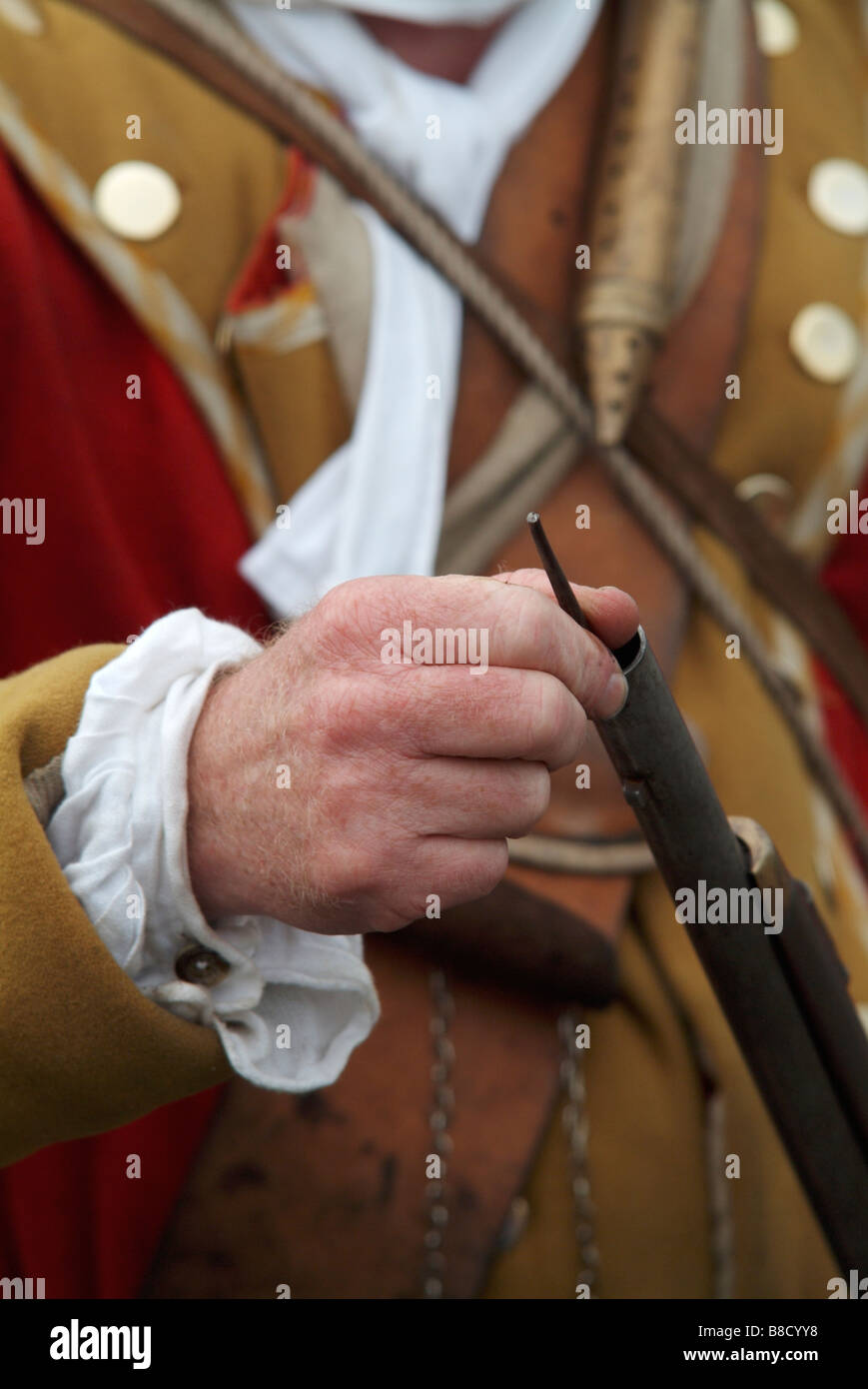 Close-up of a Grenadier ramming his firelock at the 2008 re-enactment of the Battle of Prestonpans Stock Photo