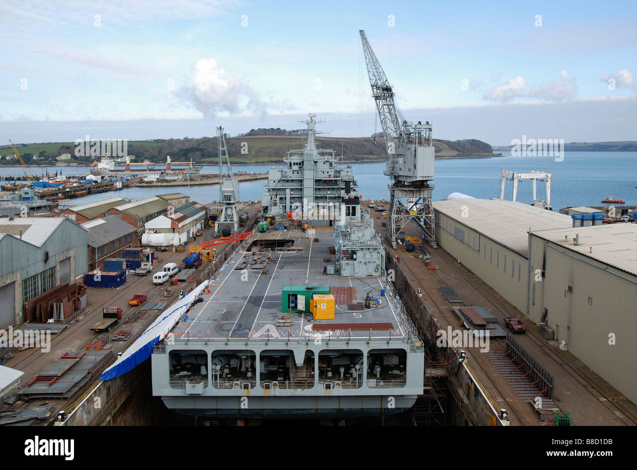 a ship from the royal auxiliary fleet undergoing repairs in