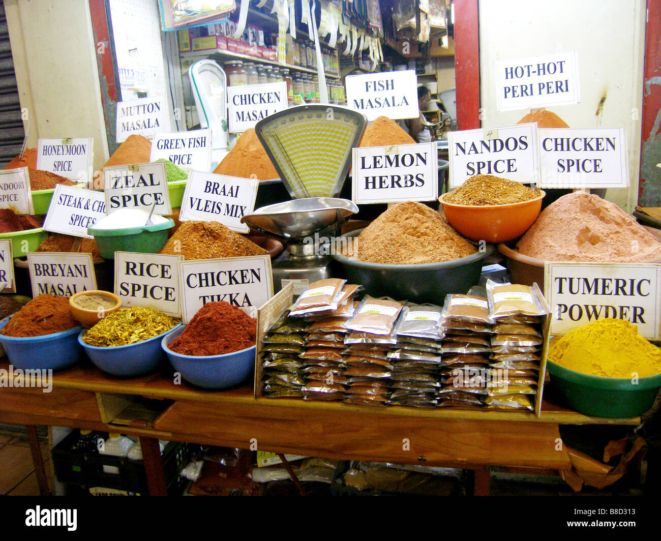 Hot currie spices for sale at the Indian Market in Durban South Africa - Stock Image