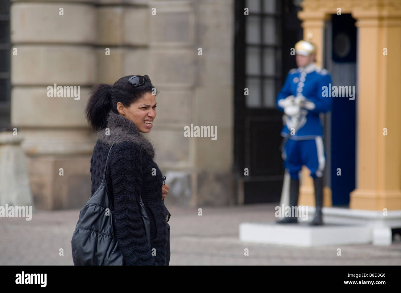 Tourist at the Kings Palace in Stockholm Sweden - Stock Image