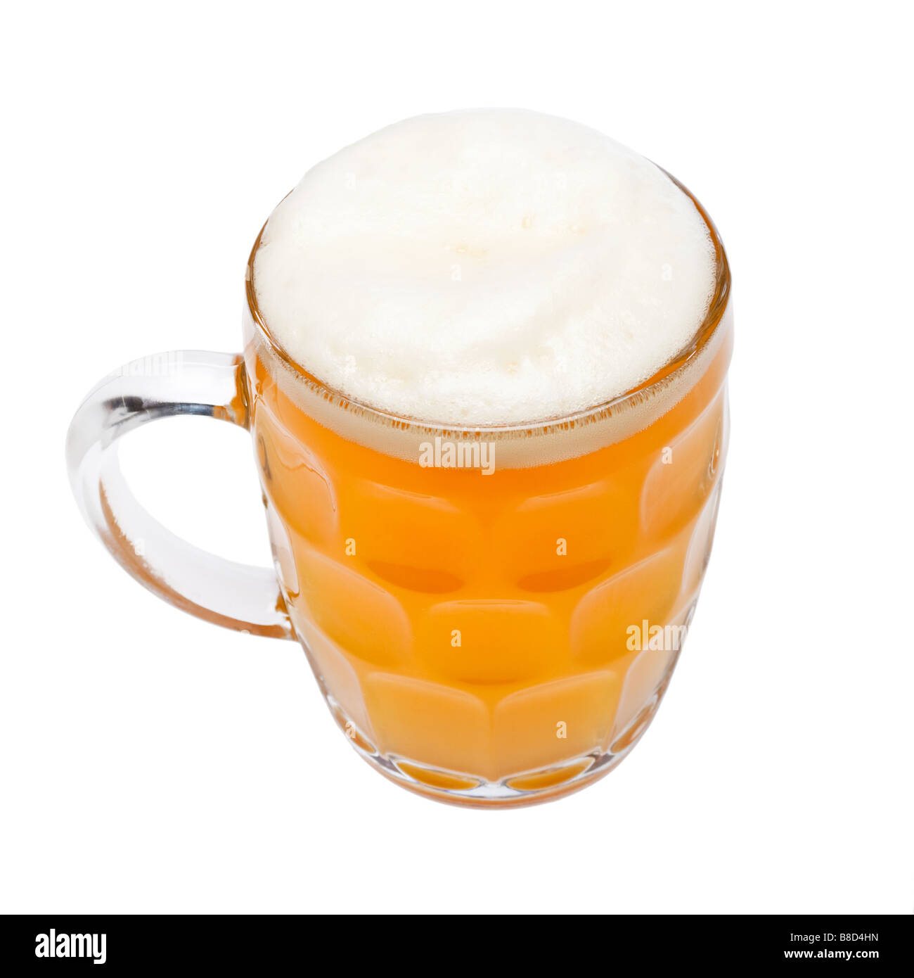 Pint of traditional German wheat beer Weissbier with frothy head on white - Stock Image
