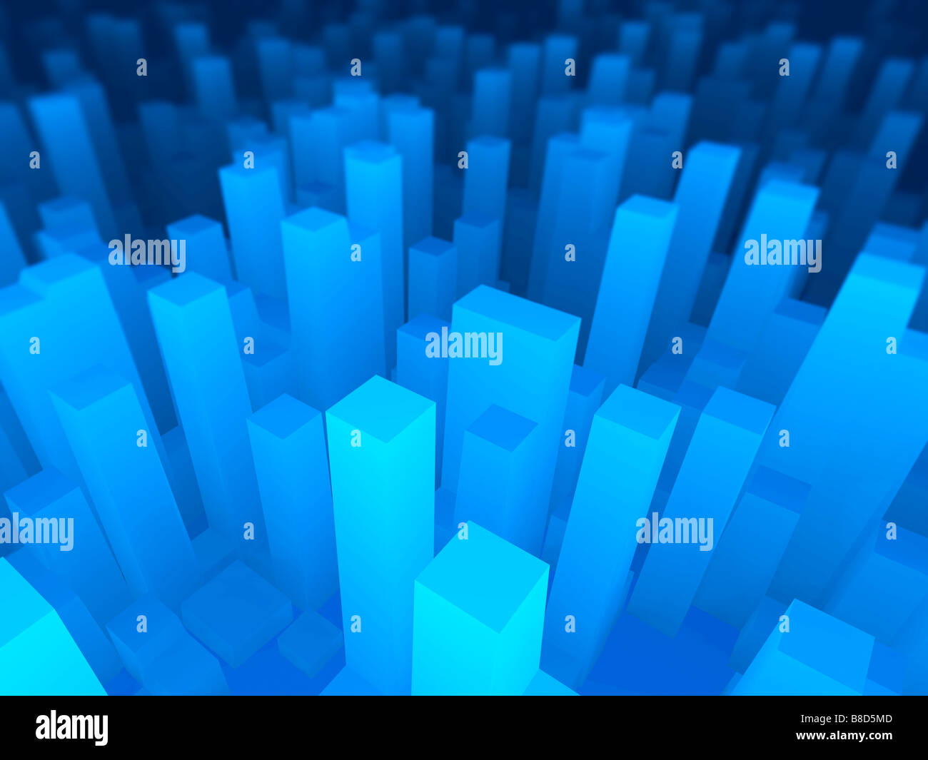 3D Illustration of an abstract blue cityscape. - Stock Image