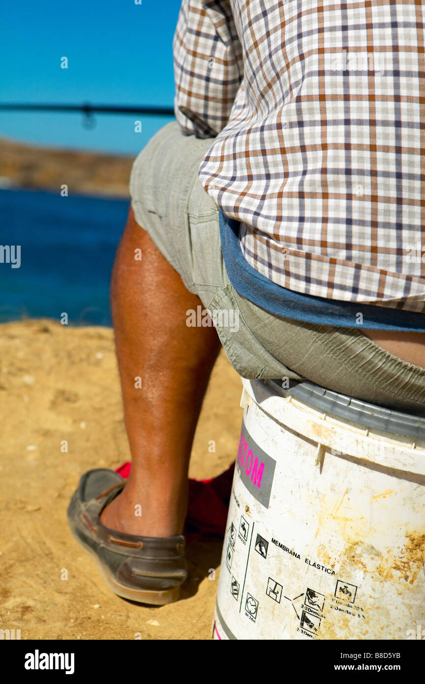Fisherman by  Ocean, Peniche, Portugal - Stock Image