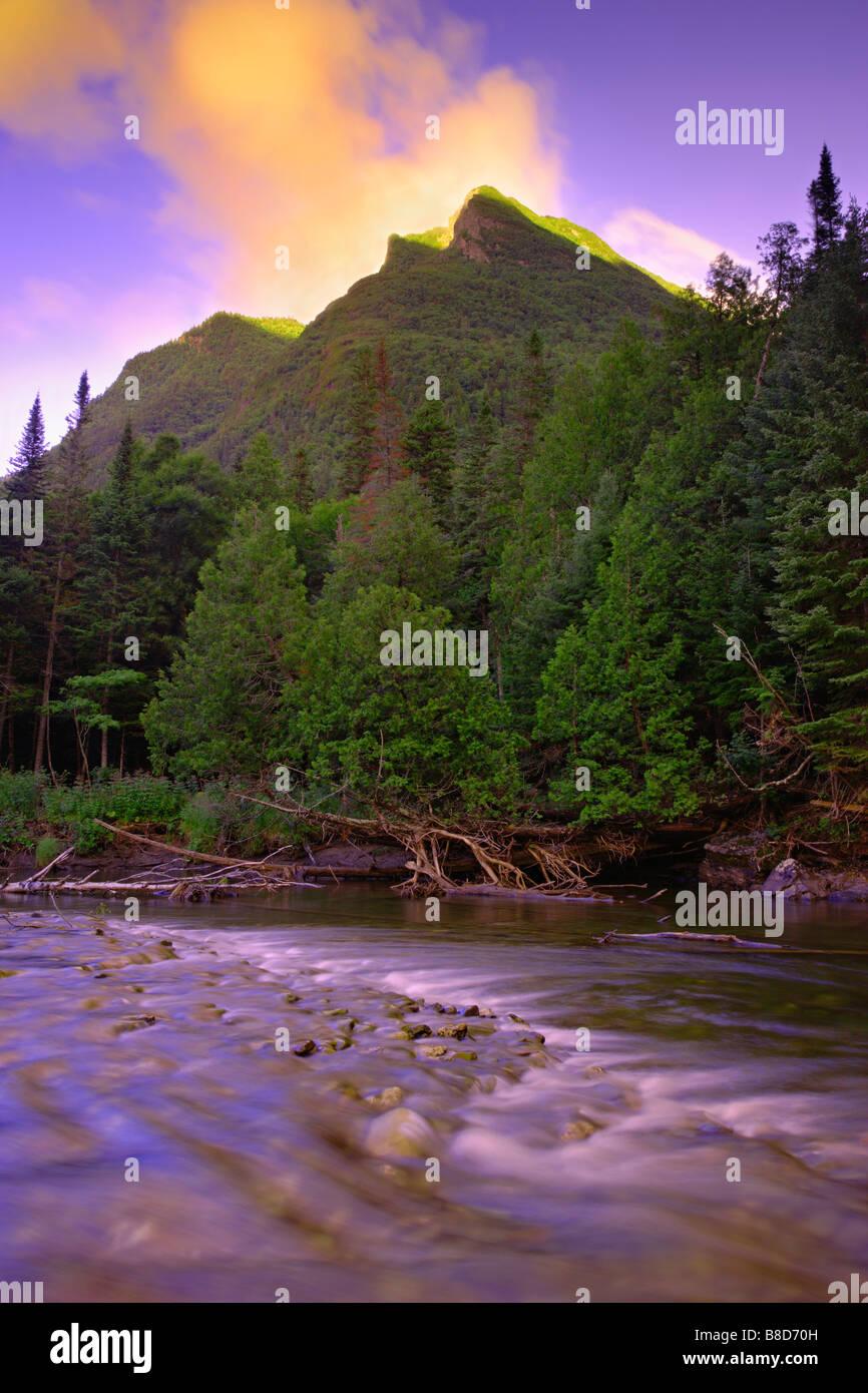 Nicol-Albert Mount  Cap-Chat river, Gaspesie Wildlife Reserve, Quebec - Stock Image