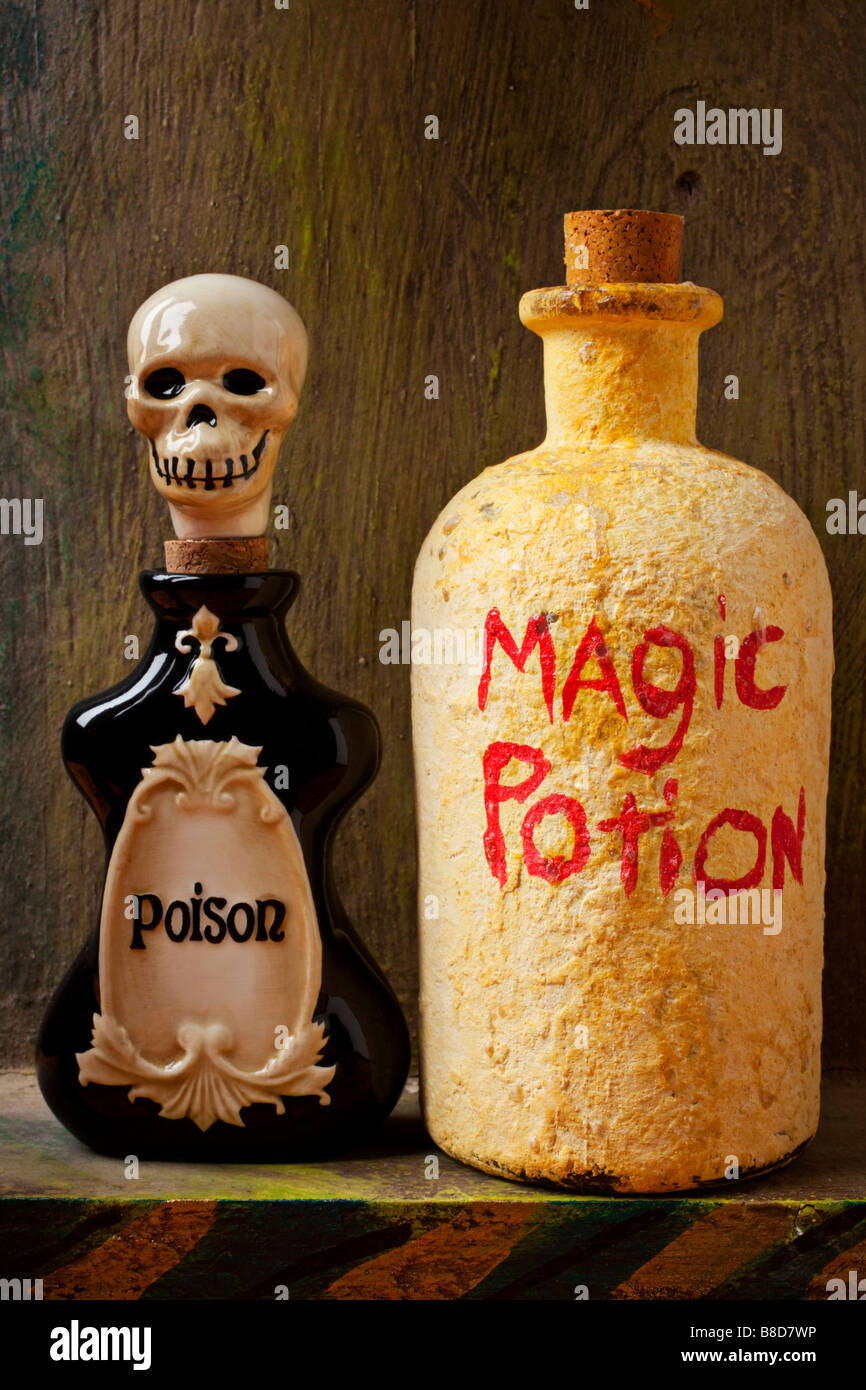 Bottle of poison bottle of magic potion - Stock Image