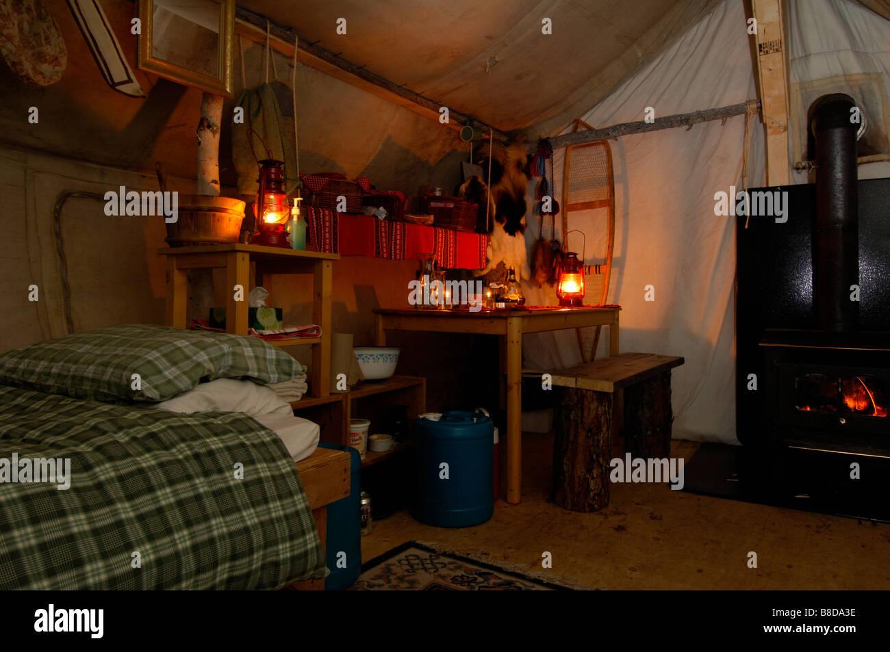 Inside Prospectors Tent, Blachford Lake, Northwest