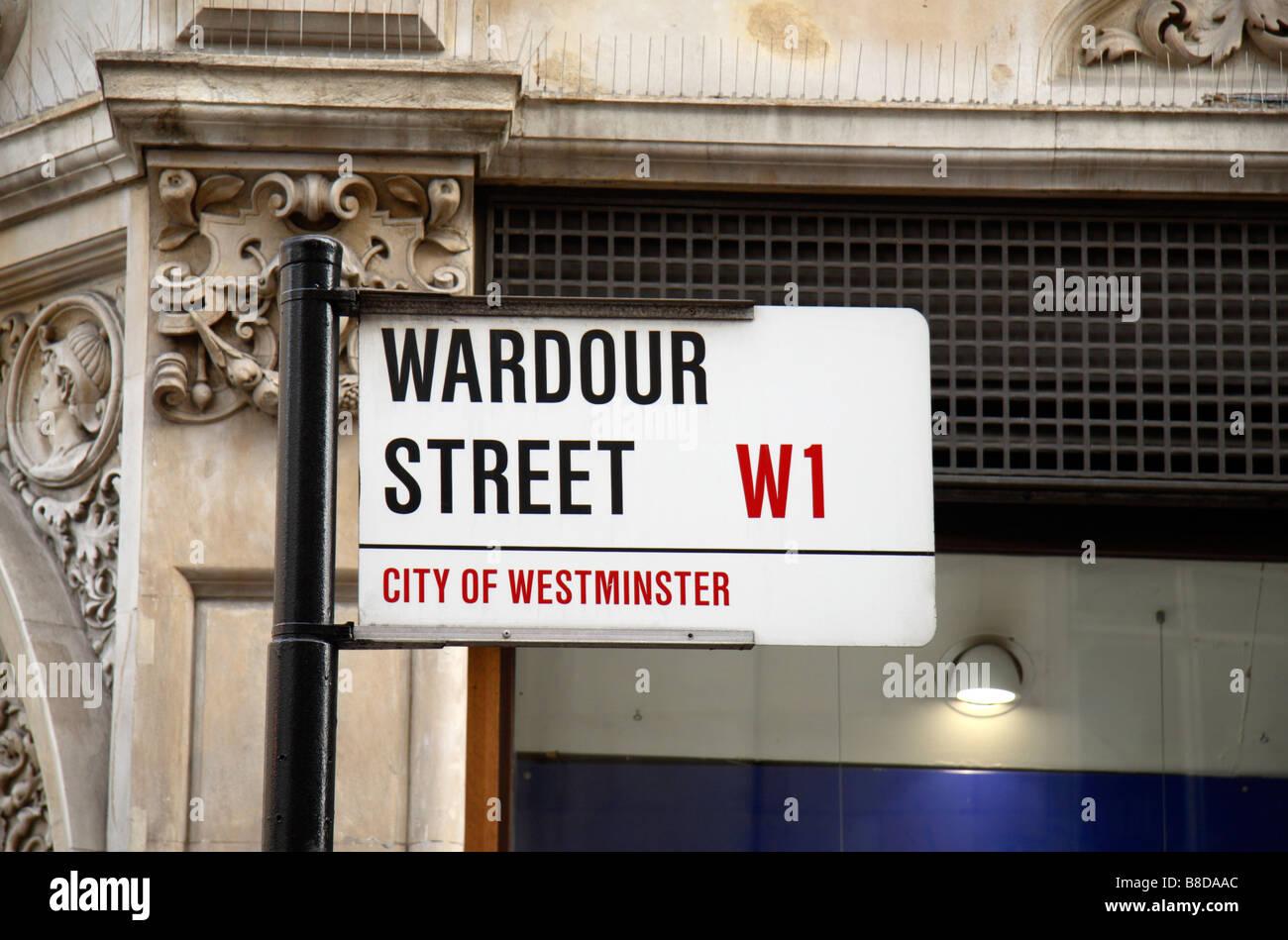 Street sign for Wardour Street, Westminster, London.  Jan 2009 - Stock Image