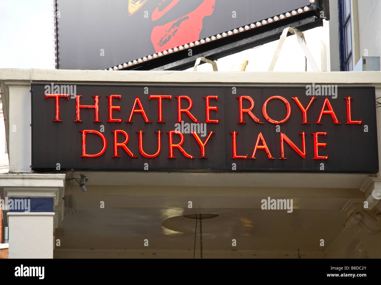 Name sign for the Theatre Royal, Drury Lane, London.  Oliver is currently showing at the Theatre. Jan 2009 - Stock Image