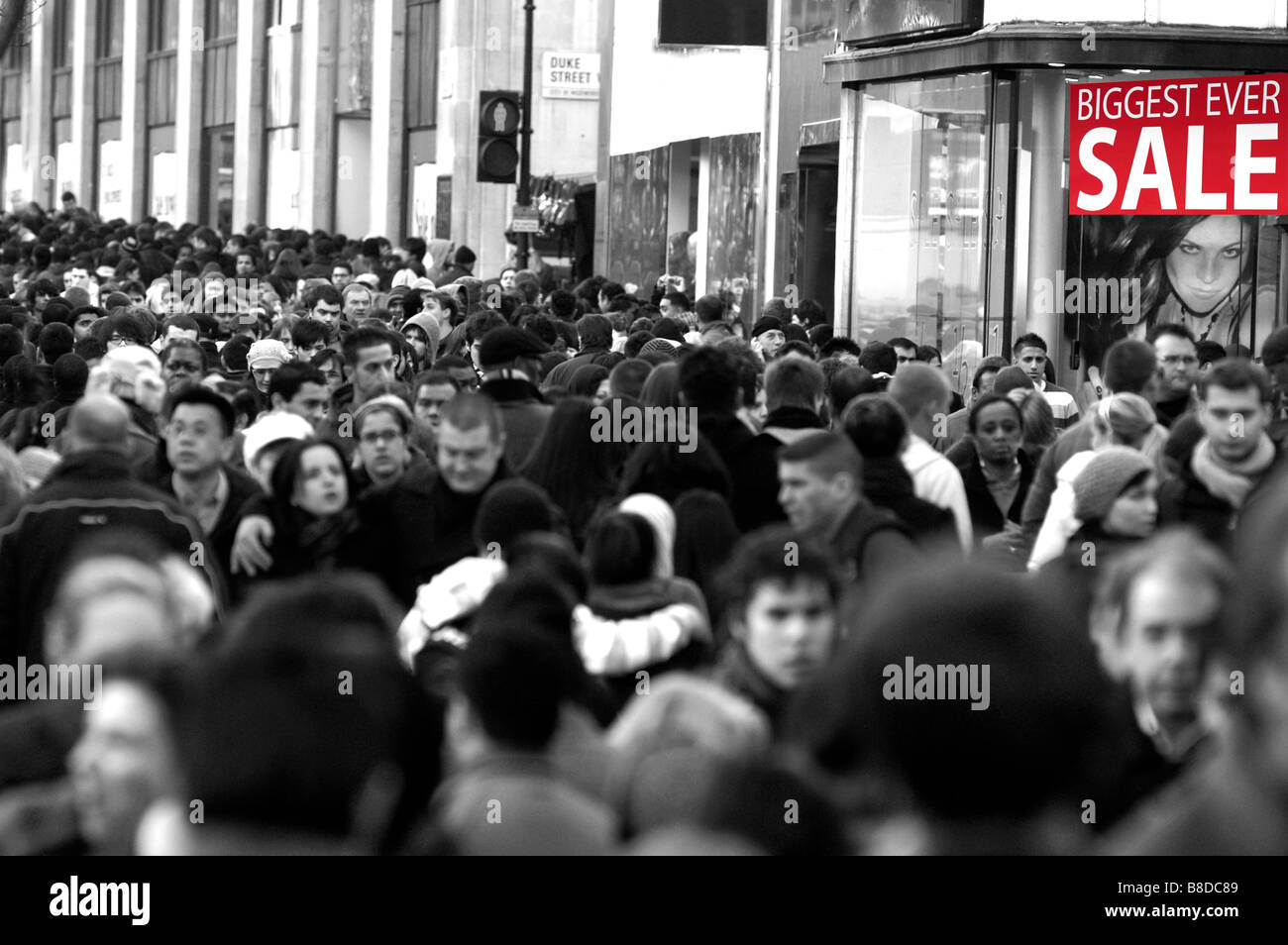 Sale obsession at Oxford Street, London 2009 - Stock Image