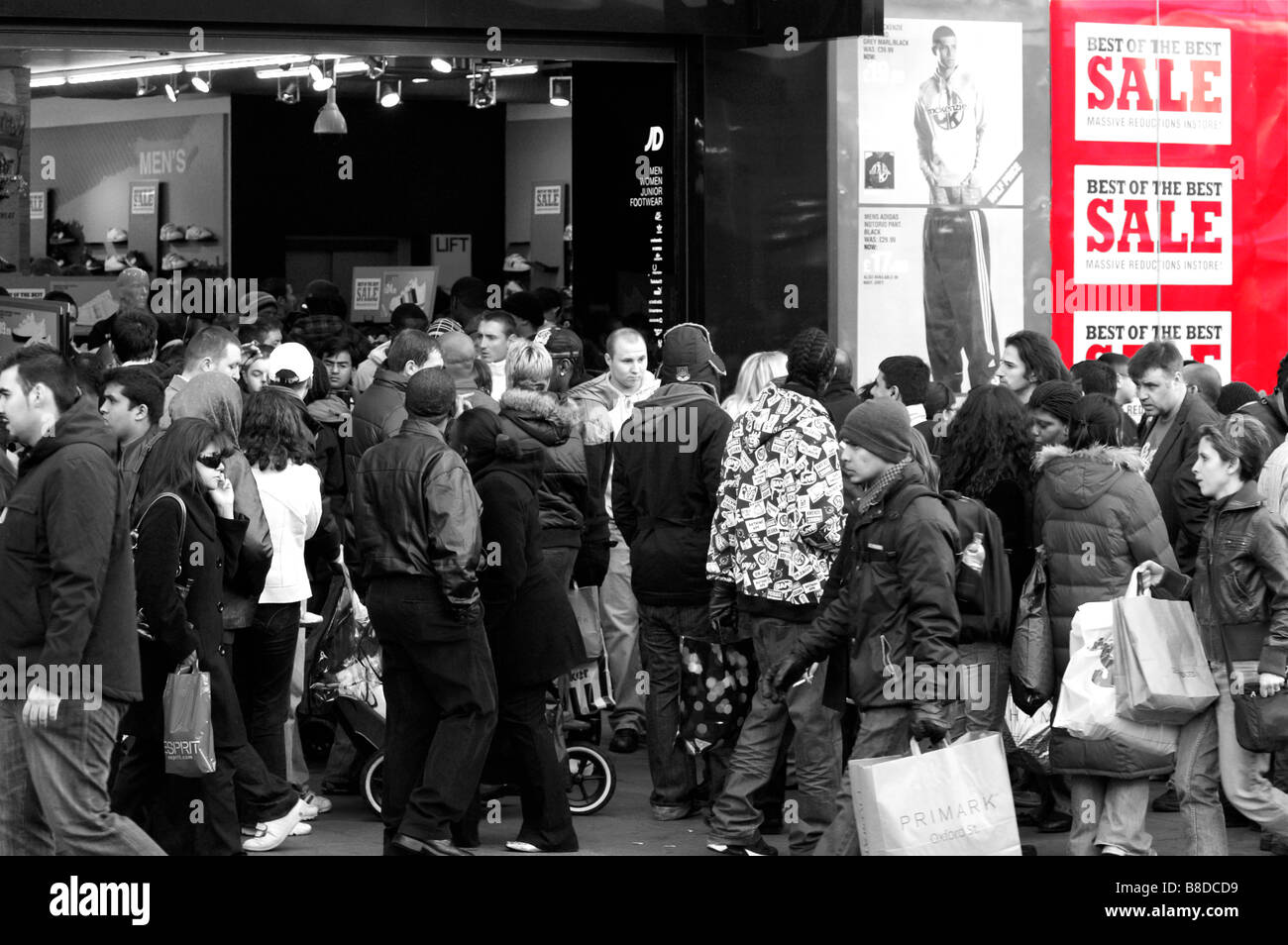 Sale obsession during Boxing Day at Oxford street. London - Stock Image