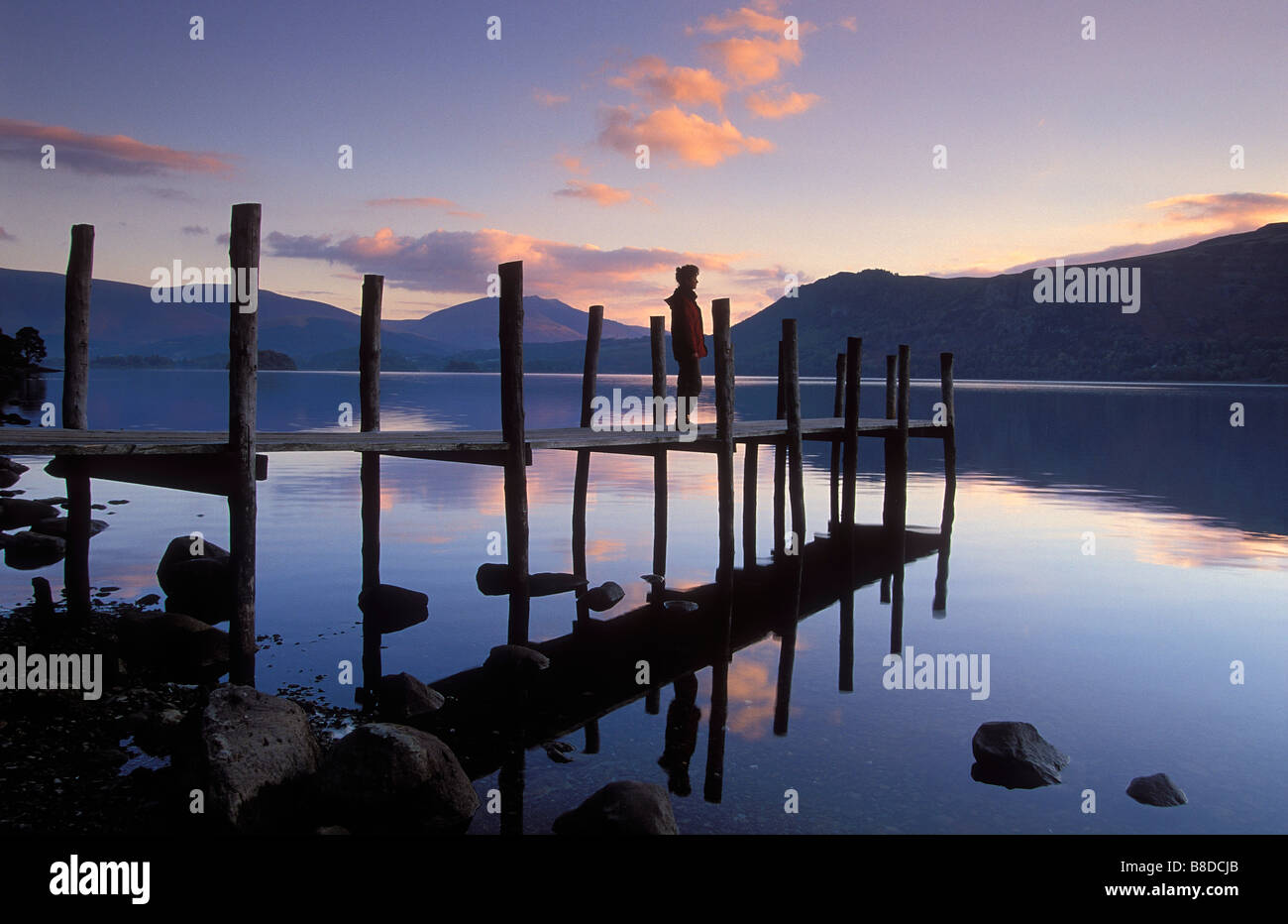 Derwentwater at dawn, Brandelhow Bay, Lake District National Park, Cumbria, England, UK - Stock Image