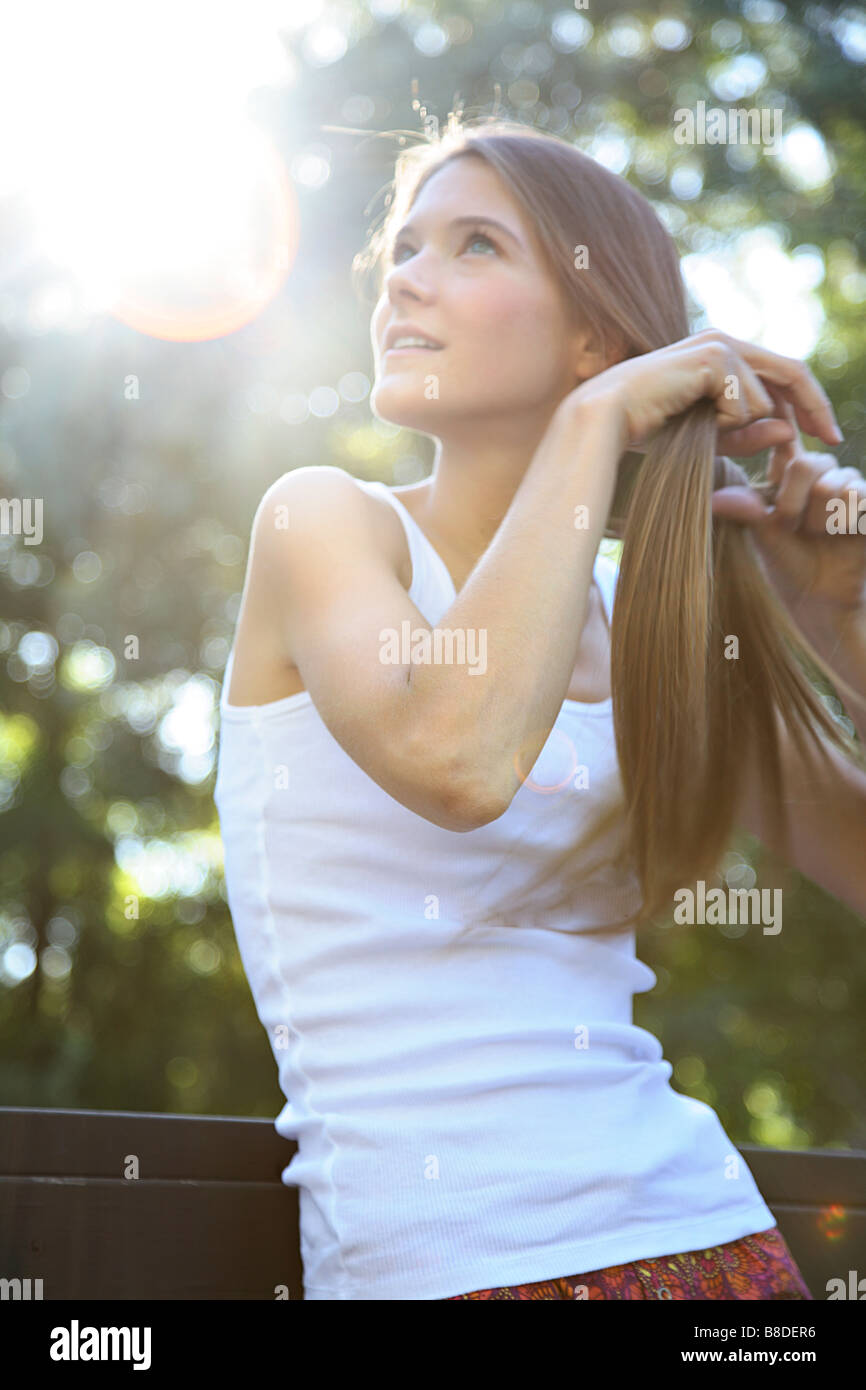 Portrait  Young Woman Outdoors - Stock Image