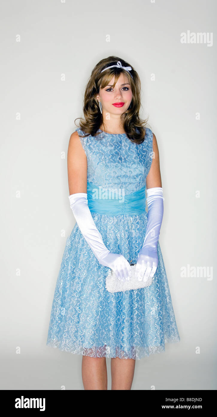 Fashion Dresses Accessories: Young Woman Wearing 50's Style Dress And Accessories Stock