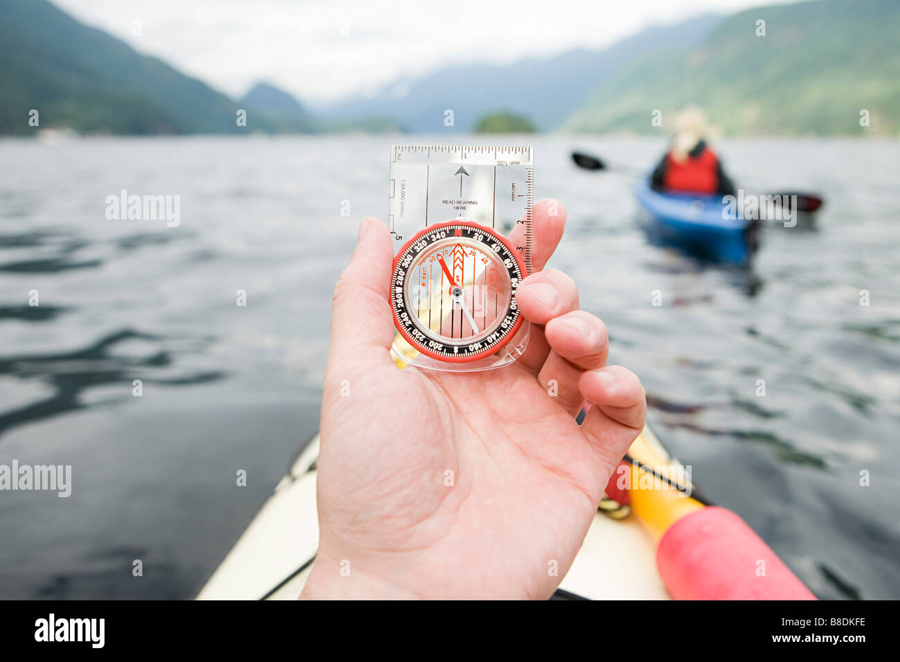 Kayaker with compass - Stock Image