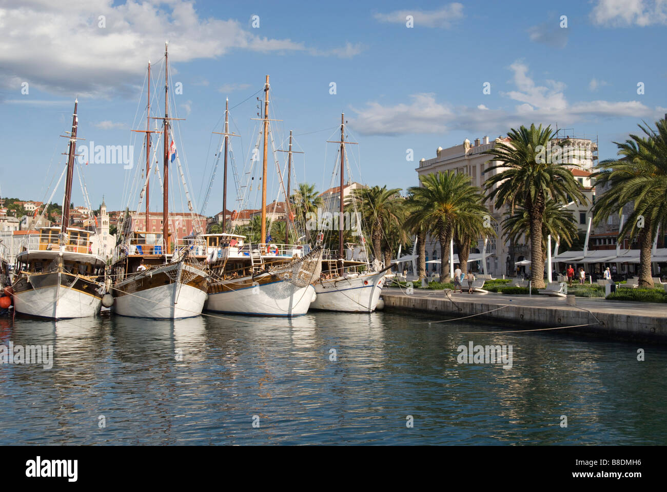 Boats in split harbour croatia Stock Photo