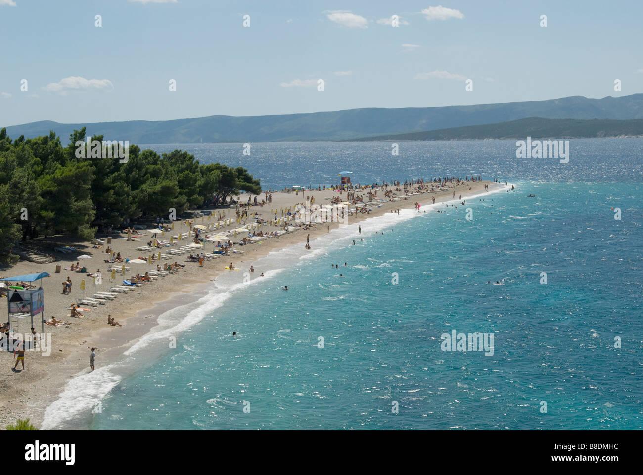 Zlatni rat beach brac croatia Stock Photo