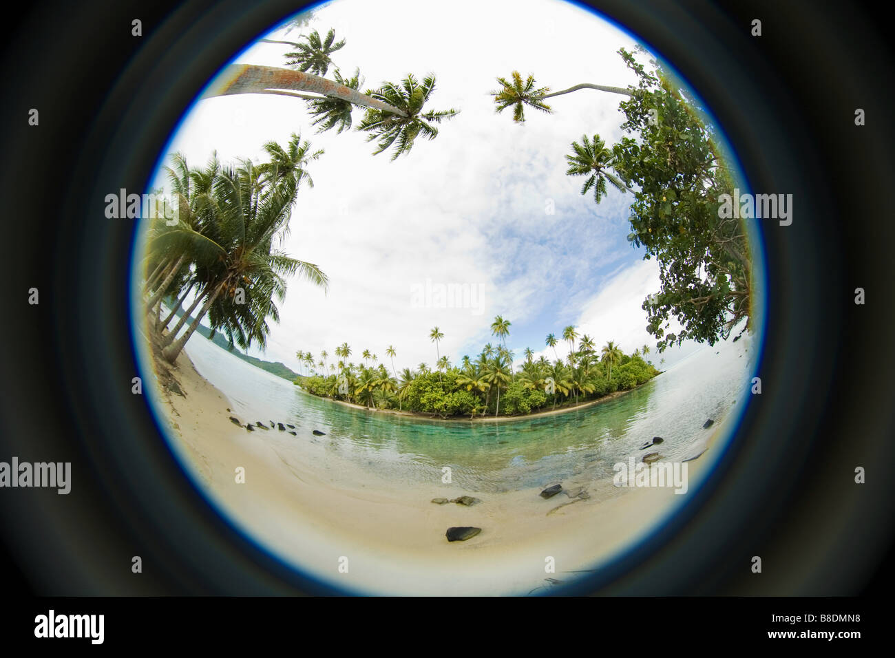 Fisheye perspective of island - Stock Image