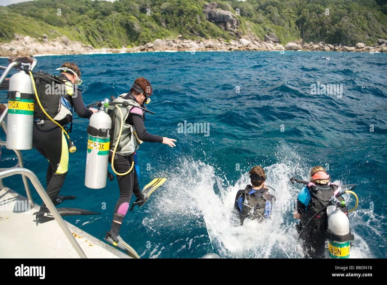 Scuba diving at similan islands - Stock Image