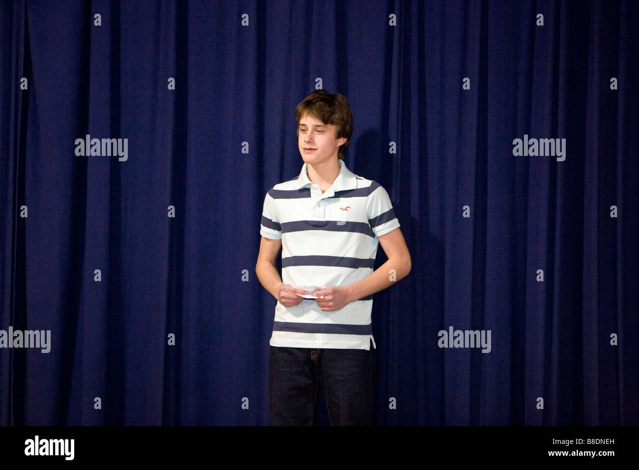 North America Canada Ontario boy holding cue cards while making speech Stock Photo