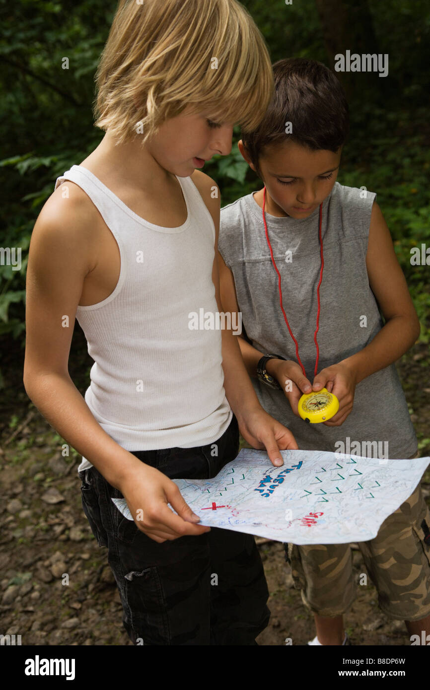 Boys with map Stock Photo