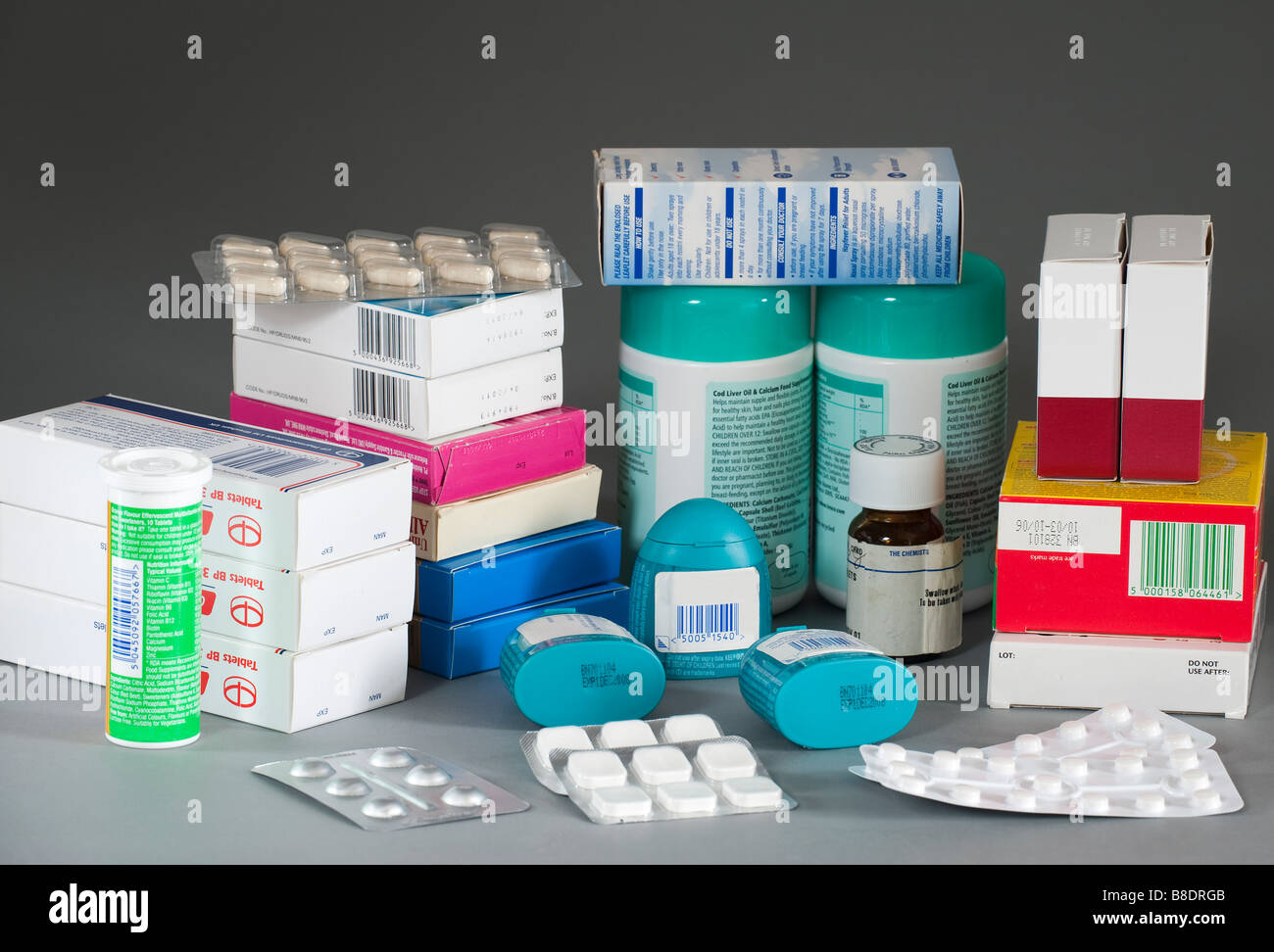 Mixed containers of medicines - Stock Image